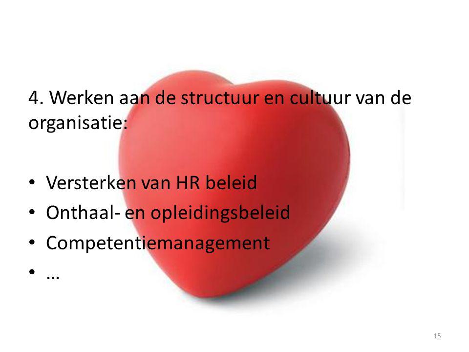 4. Werken aan de structuur en cultuur van de organisatie: Versterken van HR beleid Onthaal- en opleidingsbeleid Competentiemanagement … 15