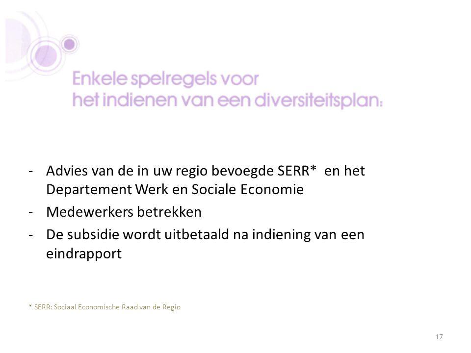 -Advies van de in uw regio bevoegde SERR* en het Departement Werk en Sociale Economie -Medewerkers betrekken -De subsidie wordt uitbetaald na indienin