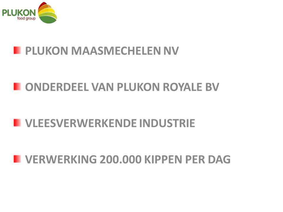 PLUKON MAASMECHELEN NV ONDERDEEL VAN PLUKON ROYALE BV VLEESVERWERKENDE INDUSTRIE VERWERKING 200.000 KIPPEN PER DAG