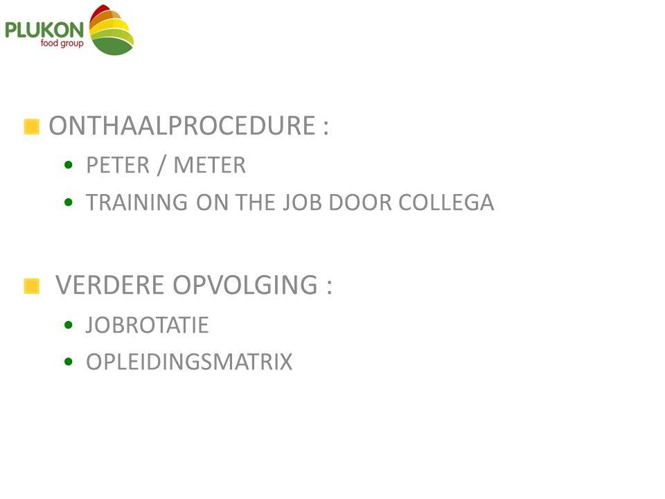 ONTHAALPROCEDURE : PETER / METER TRAINING ON THE JOB DOOR COLLEGA VERDERE OPVOLGING : JOBROTATIE OPLEIDINGSMATRIX