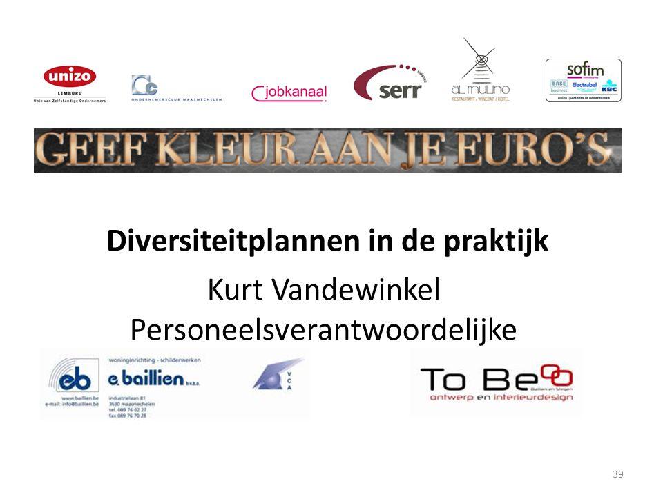 39 Kurt Vandewinkel Personeelsverantwoordelijke Diversiteitplannen in de praktijk