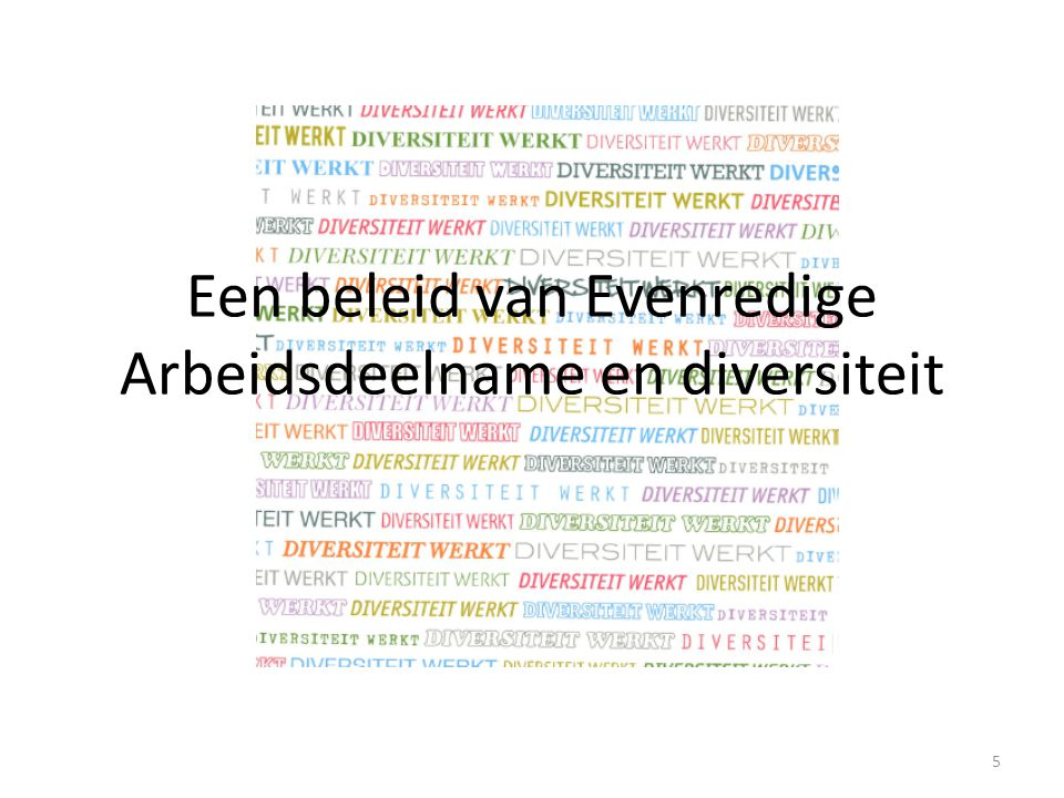 Een beleid van Evenredige Arbeidsdeelname en diversiteit 5