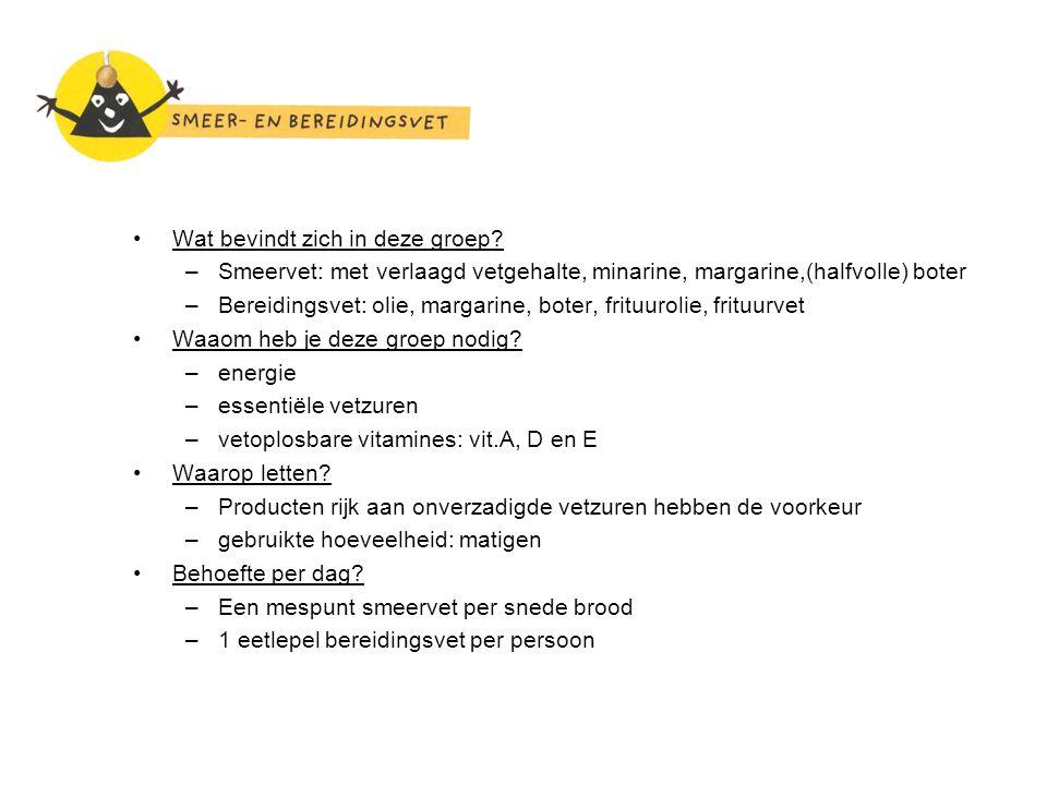 Wat bevindt zich in deze groep? –Smeervet: met verlaagd vetgehalte, minarine, margarine,(halfvolle) boter –Bereidingsvet: olie, margarine, boter, frit