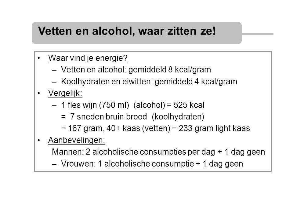 Waar vind je energie? –Vetten en alcohol: gemiddeld 8 kcal/gram –Koolhydraten en eiwitten: gemiddeld 4 kcal/gram Vergelijk: –1 fles wijn (750 ml) (alc