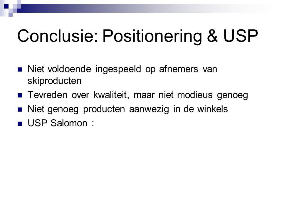 Conclusie: Positionering & USP Niet voldoende ingespeeld op afnemers van skiproducten Tevreden over kwaliteit, maar niet modieus genoeg Niet genoeg producten aanwezig in de winkels USP Salomon :