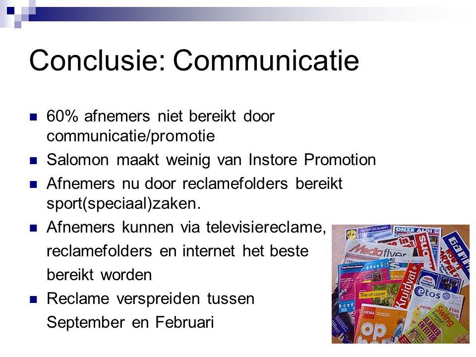 Conclusie: Communicatie 60% afnemers niet bereikt door communicatie/promotie Salomon maakt weinig van Instore Promotion Afnemers nu door reclamefolders bereikt sport(speciaal)zaken.