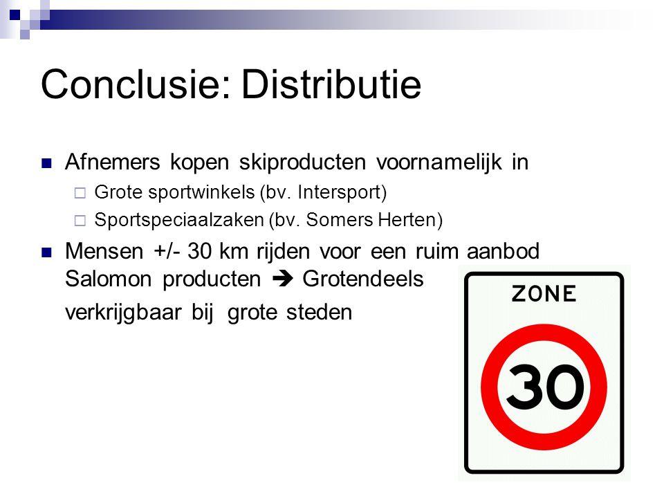 Conclusie: Distributie Afnemers kopen skiproducten voornamelijk in  Grote sportwinkels (bv.