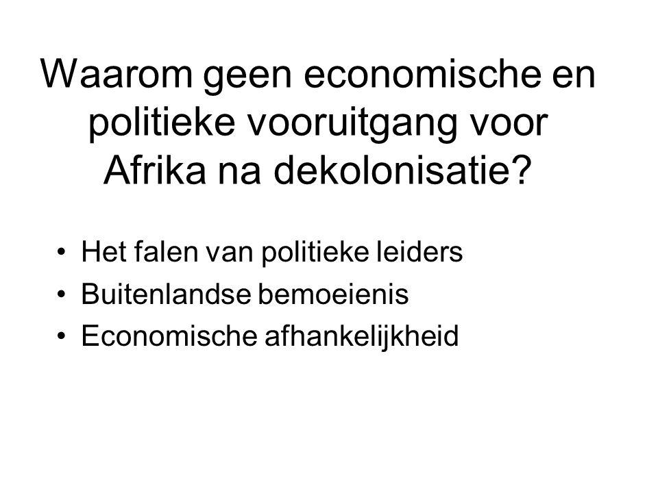 Waarom geen economische en politieke vooruitgang voor Afrika na dekolonisatie? Het falen van politieke leiders Buitenlandse bemoeienis Economische afh