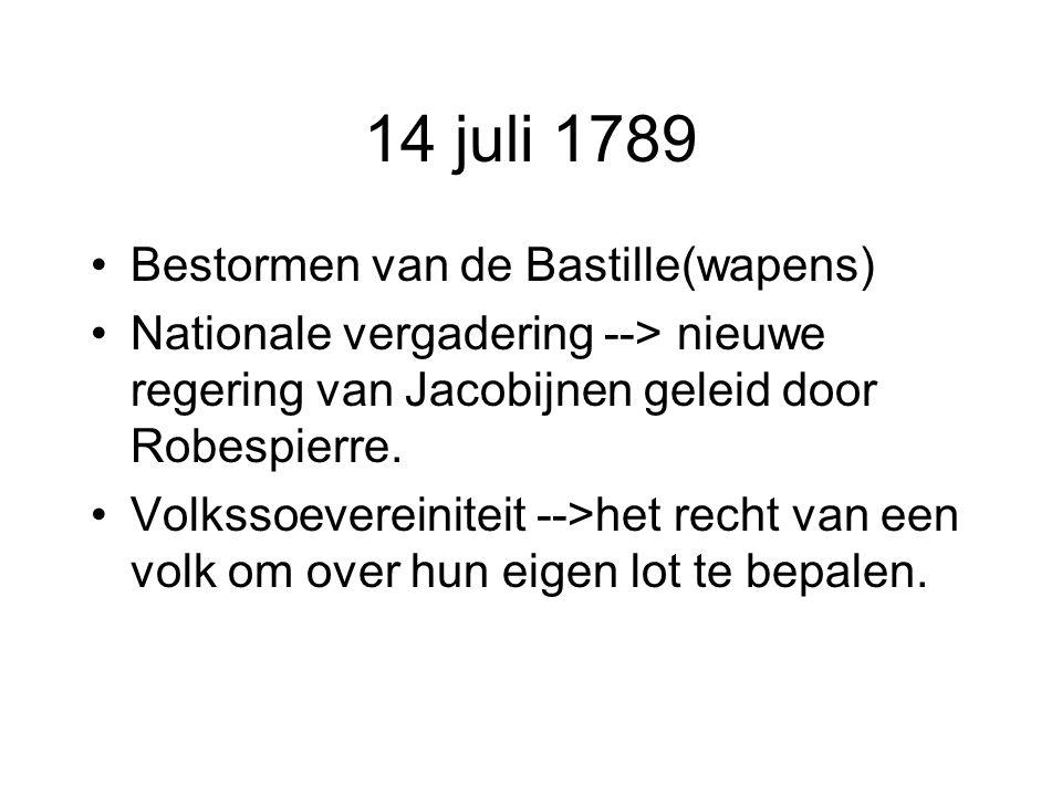 14 juli 1789 Bestormen van de Bastille(wapens) Nationale vergadering --> nieuwe regering van Jacobijnen geleid door Robespierre. Volkssoevereiniteit -