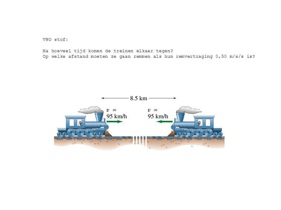 VWO stof: Na hoeveel tijd komen de treinen elkaar tegen? Op welke afstand moeten ze gaan remmen als hun remvertraging 0,50 m/s/s is?