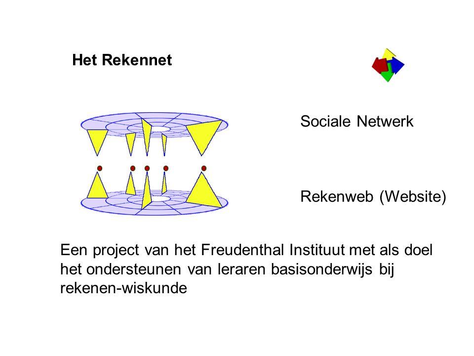 Het Rekennet Een project van het Freudenthal Instituut met als doel het ondersteunen van leraren basisonderwijs bij rekenen-wiskunde Sociale Netwerk Rekenweb (Website)
