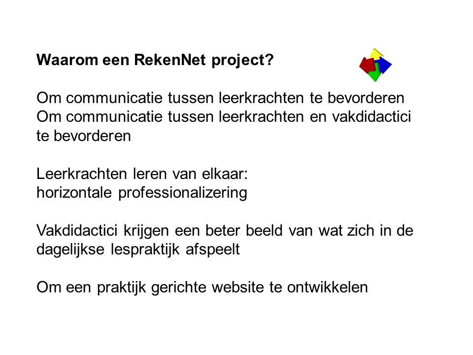 Waarom een RekenNet project? Om communicatie tussen leerkrachten te bevorderen Om communicatie tussen leerkrachten en vakdidactici te bevorderen Leerk