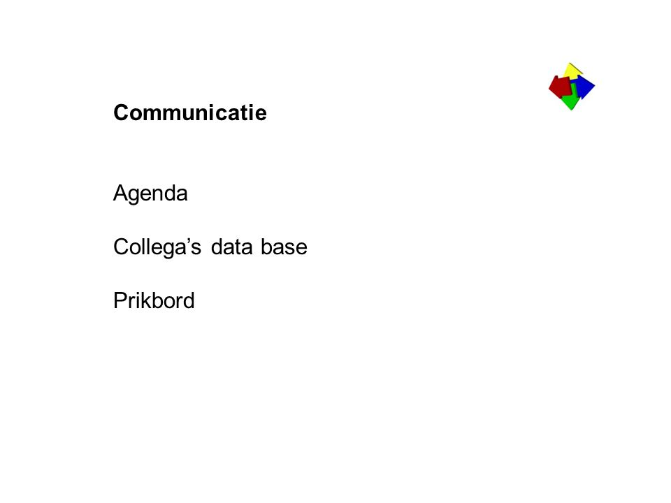 Communicatie Agenda Collega's data base Prikbord