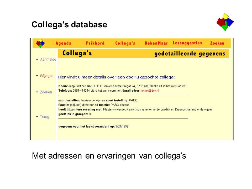 Collega's database Met adressen en ervaringen van collega's