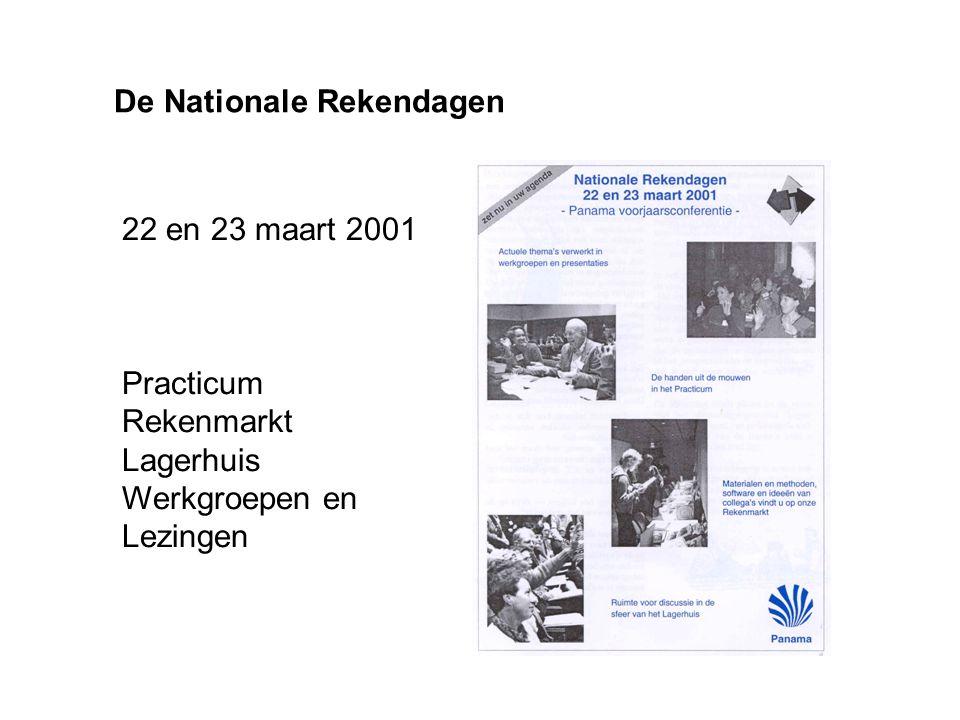 De Nationale Rekendagen 22 en 23 maart 2001 Practicum Rekenmarkt Lagerhuis Werkgroepen en Lezingen