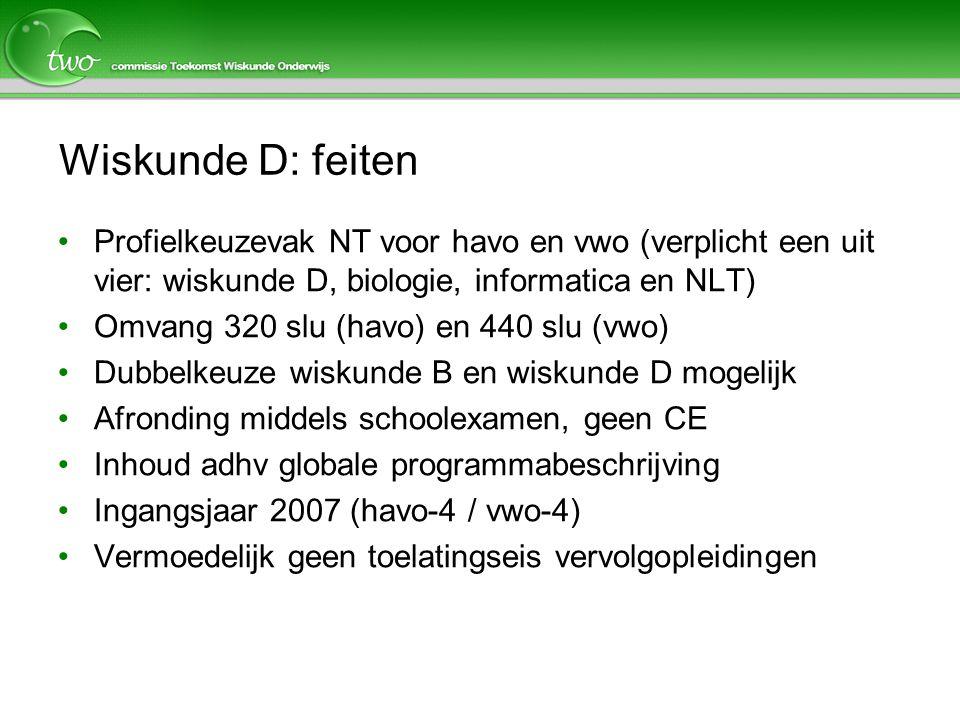Wiskunde D: feiten Profielkeuzevak NT voor havo en vwo (verplicht een uit vier: wiskunde D, biologie, informatica en NLT) Omvang 320 slu (havo) en 440