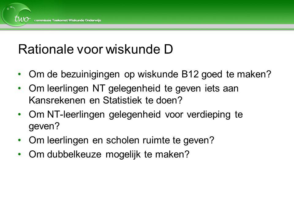 Rationale voor wiskunde D Om de bezuinigingen op wiskunde B12 goed te maken? Om leerlingen NT gelegenheid te geven iets aan Kansrekenen en Statistiek