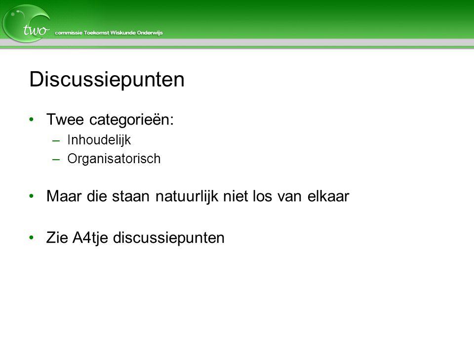 Discussiepunten Twee categorieën: –Inhoudelijk –Organisatorisch Maar die staan natuurlijk niet los van elkaar Zie A4tje discussiepunten
