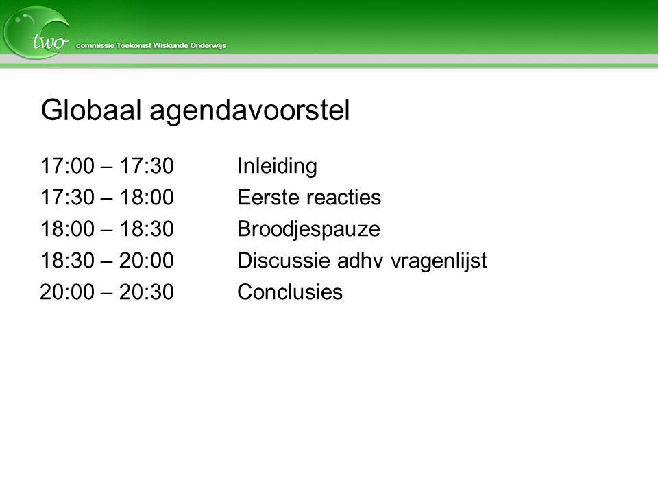 Globaal agendavoorstel 17:00 – 17:30Inleiding 17:30 – 18:00Eerste reacties 18:00 – 18:30 Broodjespauze 18:30 – 20:00 Discussie adhv vragenlijst 20:00