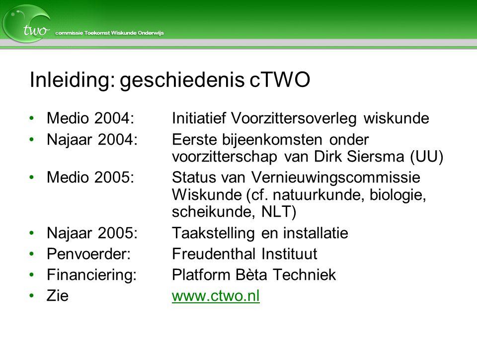 Inleiding: geschiedenis cTWO Medio 2004:Initiatief Voorzittersoverleg wiskunde Najaar 2004: Eerste bijeenkomsten onder voorzitterschap van Dirk Siersm