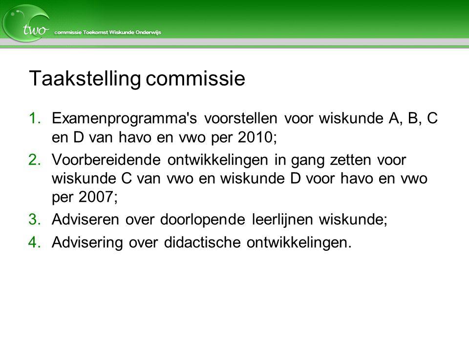 Taakstelling commissie 1.Examenprogramma's voorstellen voor wiskunde A, B, C en D van havo en vwo per 2010; 2.Voorbereidende ontwikkelingen in gang ze