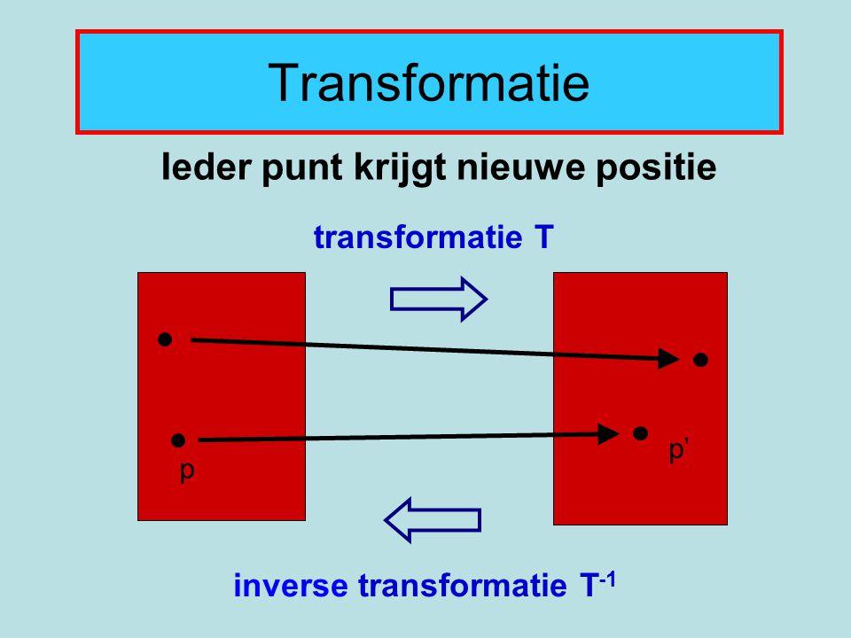 Transformatie Ieder punt krijgt nieuwe positie transformatie T p p' inverse transformatie T -1