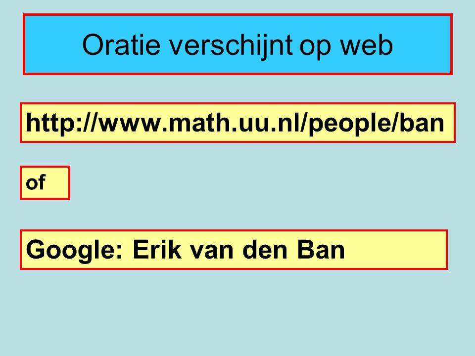 Oratie verschijnt op web http://www.math.uu.nl/people/ban of Google: Erik van den Ban