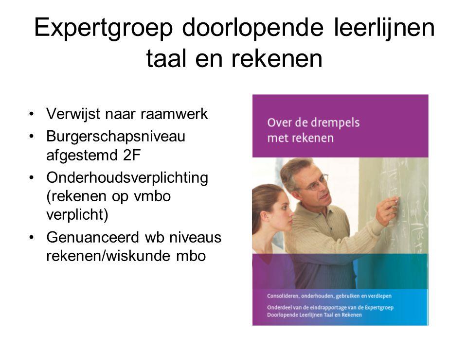 Expertgroep doorlopende leerlijnen taal en rekenen Verwijst naar raamwerk Burgerschapsniveau afgestemd 2F Onderhoudsverplichting (rekenen op vmbo verp