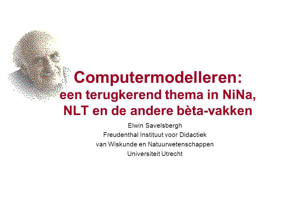 NLT module in ontwikkeling HAVO (Arjan Pruim e.a.) VWO (Kees Hooyman, ikzelf, e.a.) Content uit verschillende disciplines Opbouw in –Complexiteit –Openheid –Wiskundig gereedschap Stadium: onvolledige draft (!) wordt uitgeprobeerd in enkele klassen relatie met Wiskunde D