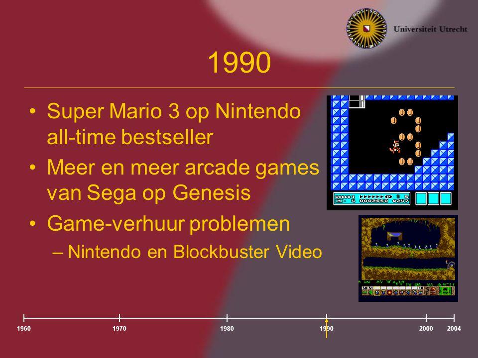 196020041980197019902000 1990 Super Mario 3 op Nintendo all-time bestseller Meer en meer arcade games van Sega opGenesis Game-verhuur problemen –Nintendo en Blockbuster Video