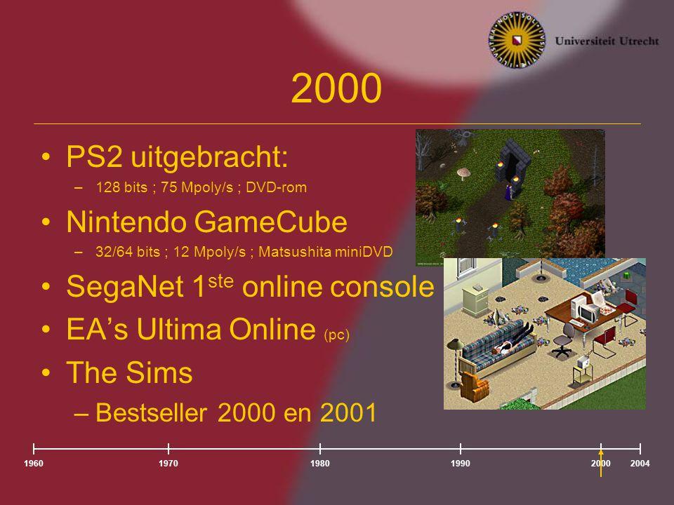 196020041980197019902000 PS2 uitgebracht: –128 bits ; 75 Mpoly/s ; DVD-rom Nintendo GameCube –32/64 bits ; 12 Mpoly/s ; Matsushita miniDVD SegaNet 1 ste online console EA's Ultima Online (pc) The Sims –Bestseller 2000 en 2001