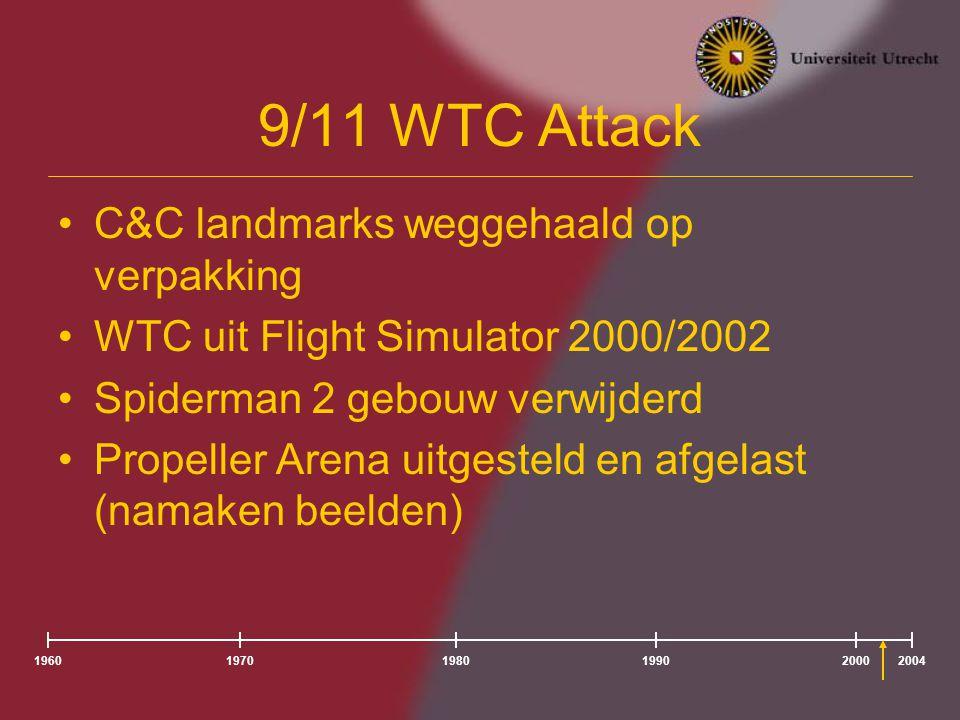 196020041980197019902000 9/11 WTC Attack C&C landmarks weggehaald op verpakking WTC uit Flight Simulator 2000/2002 Spiderman 2 gebouw verwijderd Propeller Arena uitgesteld en afgelast (namaken beelden)