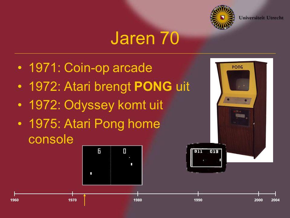 Jaren 70 1976/77: Cartridges geboren –Channel F –Atari VCS (2600) 1979: Atari brengt: –Lunar Lander (vector arcade game) –Asteroid: Atari's all-time bestseller –Atari introduceert: High-Scores Opzienbarend: Death Race 2000 196020041980197019902000