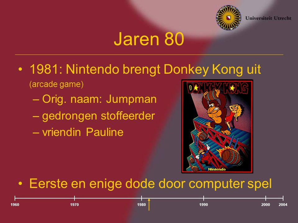 Jaren 80 1981: Nintendo brengt Donkey Kong uit (arcade game) –Orig.