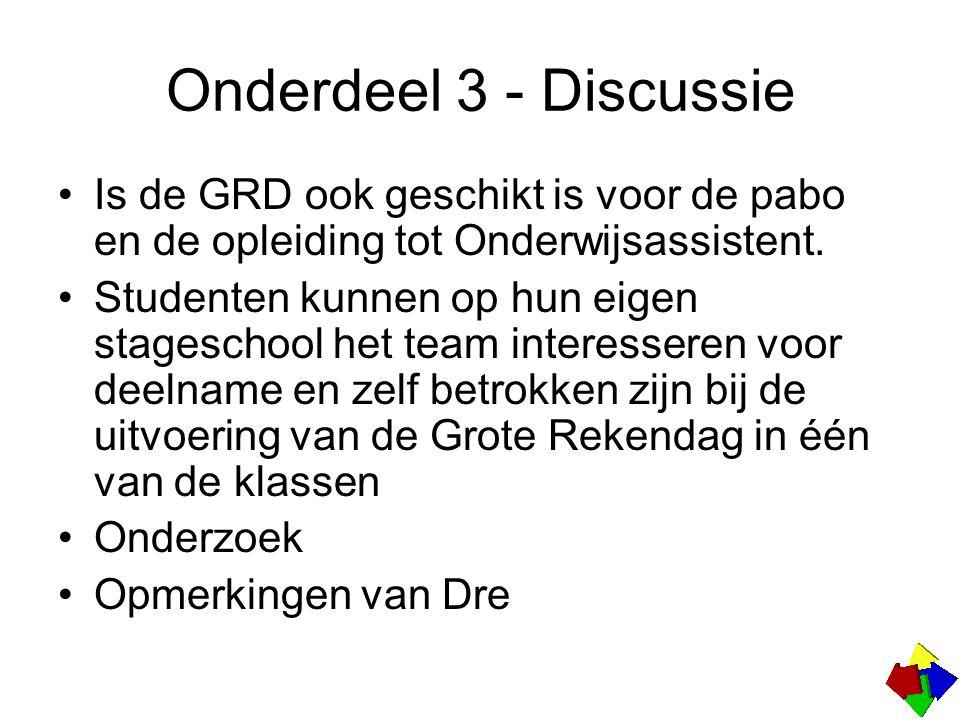 Onderdeel 3 - Discussie Is de GRD ook geschikt is voor de pabo en de opleiding tot Onderwijsassistent.