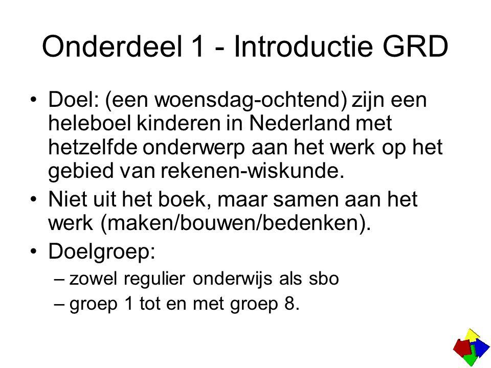 Onderdeel 1 - Introductie GRD Doel: (een woensdag-ochtend) zijn een heleboel kinderen in Nederland met hetzelfde onderwerp aan het werk op het gebied van rekenen-wiskunde.