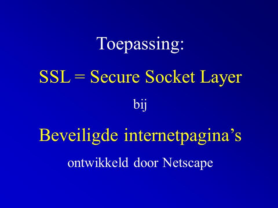 Toepassing: SSL = Secure Socket Layer bij Beveiligde internetpagina's ontwikkeld door Netscape
