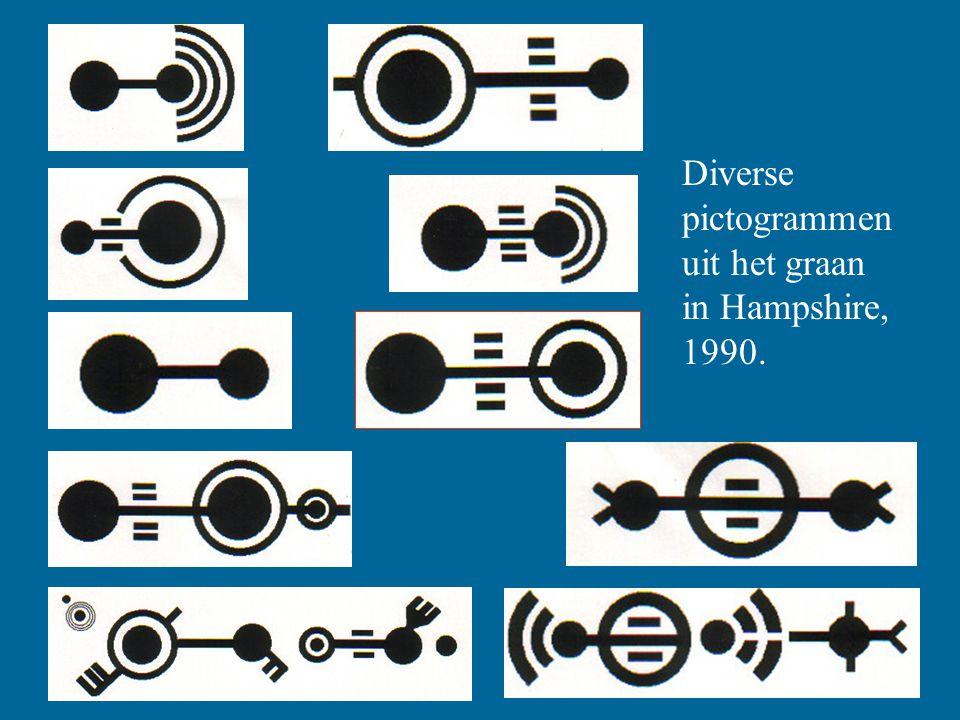 Diverse pictogrammen uit het graan in Hampshire, 1990.