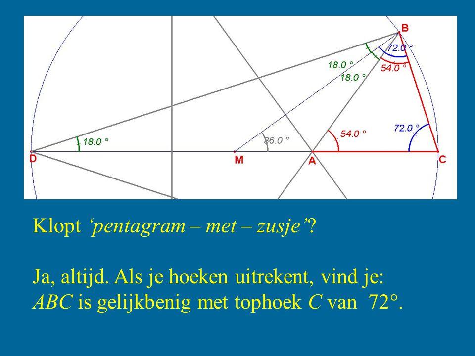 Klopt 'pentagram – met – zusje'? Ja, altijd. Als je hoeken uitrekent, vind je: ABC is gelijkbenig met tophoek C van 72 .
