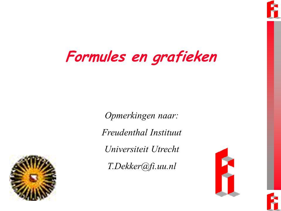 Formules en grafieken Opmerkingen naar: Freudenthal Instituut Universiteit Utrecht T.Dekker@fi.uu.nl