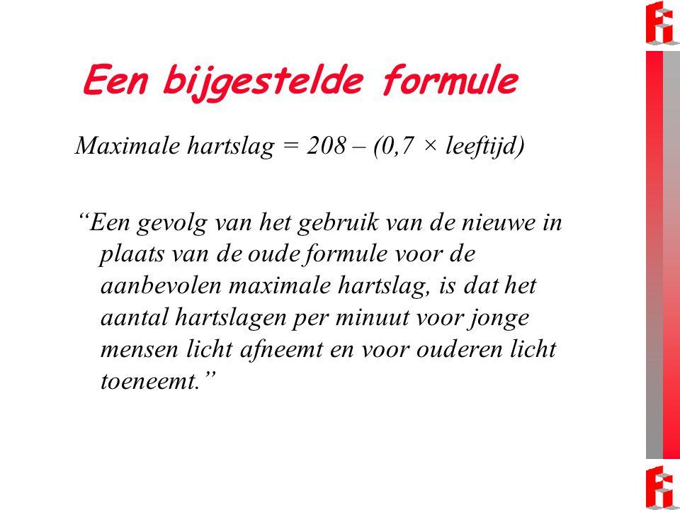 """Een bijgestelde formule Maximale hartslag = 208 – (0,7 × leeftijd) """"Een gevolg van het gebruik van de nieuwe in plaats van de oude formule voor de aan"""