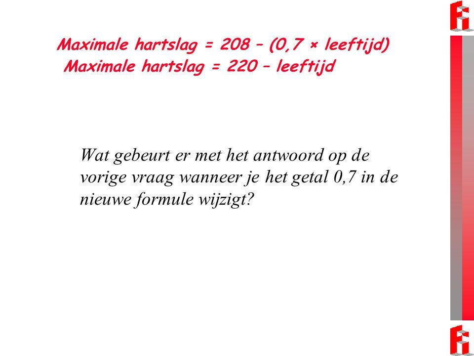 Maximale hartslag = 208 – (0,7 × leeftijd) Maximale hartslag = 220 – leeftijd Wat gebeurt er met het antwoord op de vorige vraag wanneer je het getal