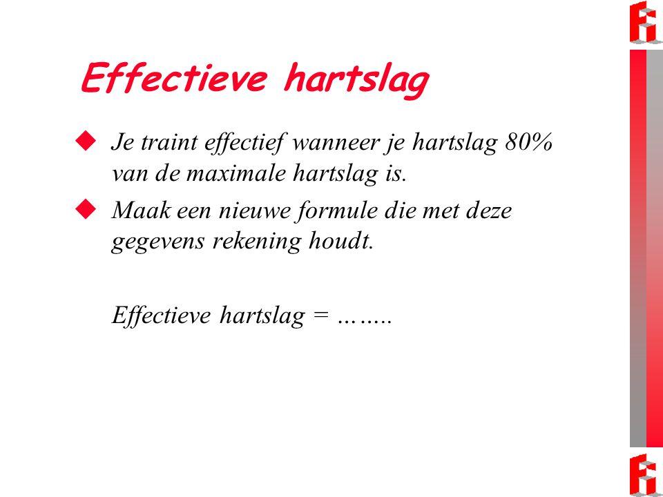 Effectieve hartslag  Gebruik 60% in plaats van 80% in de formule voor de effectieve hartslag.