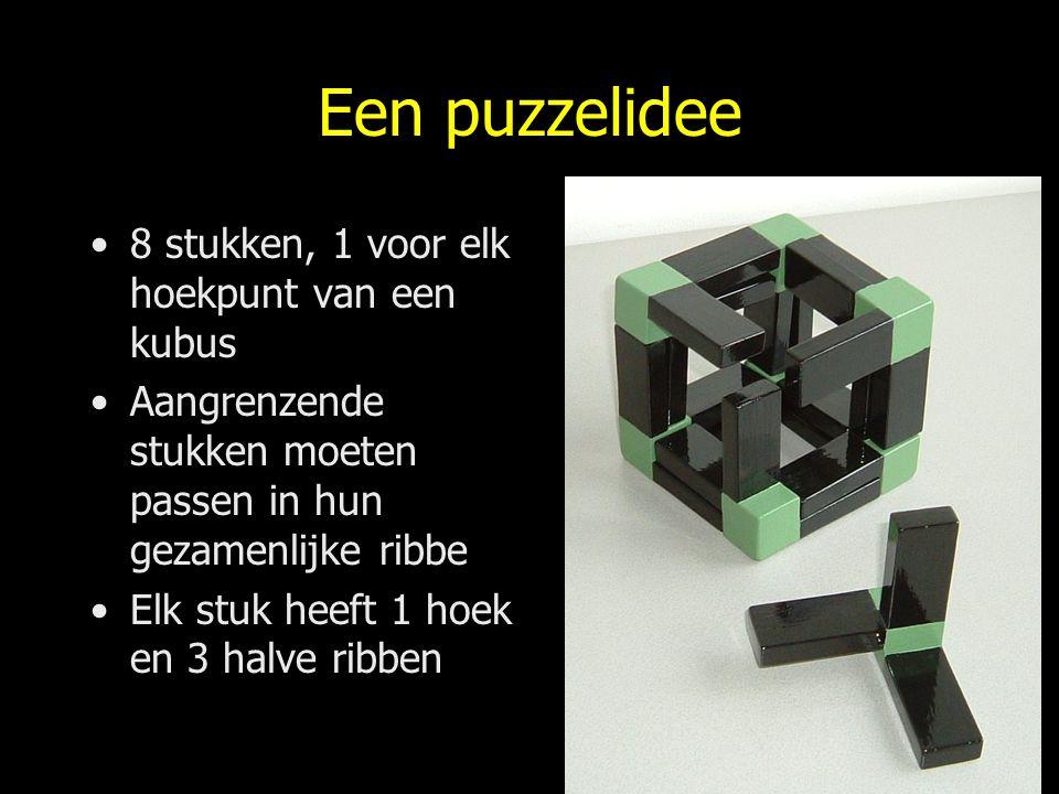 Een puzzelidee 8 stukken, 1 voor elk hoekpunt van een kubus Aangrenzende stukken moeten passen in hun gezamenlijke ribbe Elk stuk heeft 1 hoek en 3 ha