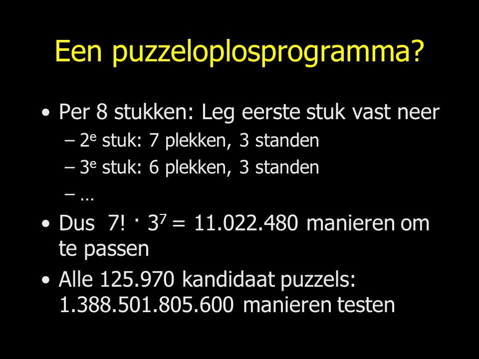 Een puzzeloplosprogramma? Per 8 stukken: Leg eerste stuk vast neer –2 e stuk: 7 plekken, 3 standen –3 e stuk: 6 plekken, 3 standen –… Dus 7! · 3 7 = 1