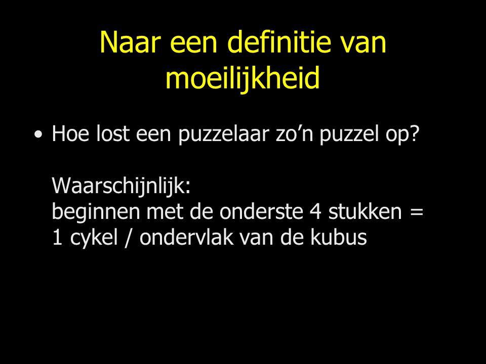 Naar een definitie van moeilijkheid Hoe lost een puzzelaar zo'n puzzel op? Waarschijnlijk: beginnen met de onderste 4 stukken = 1 cykel / ondervlak va