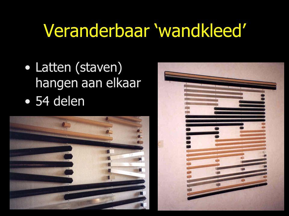 Veranderbaar 'wandkleed' Latten (staven) hangen aan elkaar 54 delen