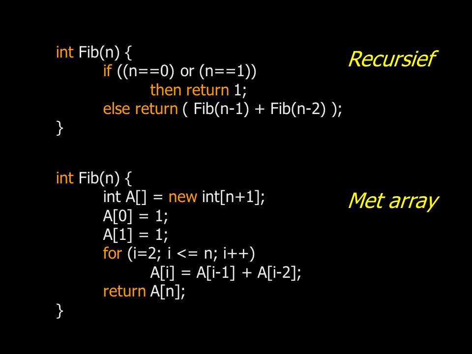 int Fib(n) { if ((n==0) or (n==1)) then return 1; else return ( Fib(n-1) + Fib(n-2) ); } int Fib(n) { int A[] = new int[n+1]; A[0] = 1; A[1] = 1; for