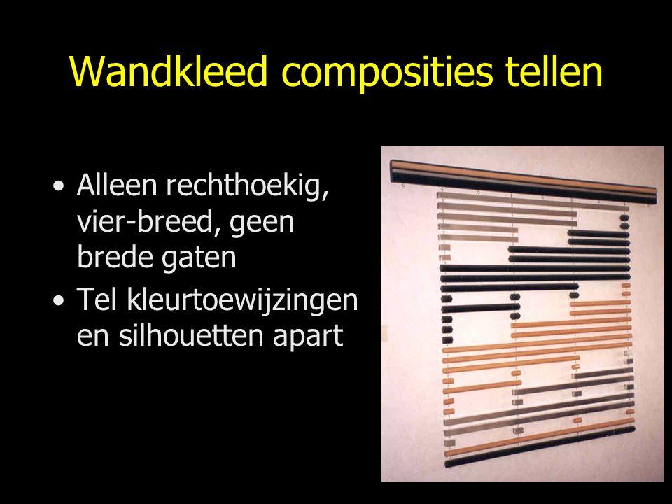 Wandkleed composities tellen Alleen rechthoekig, vier-breed, geen brede gaten Tel kleurtoewijzingen en silhouetten apart