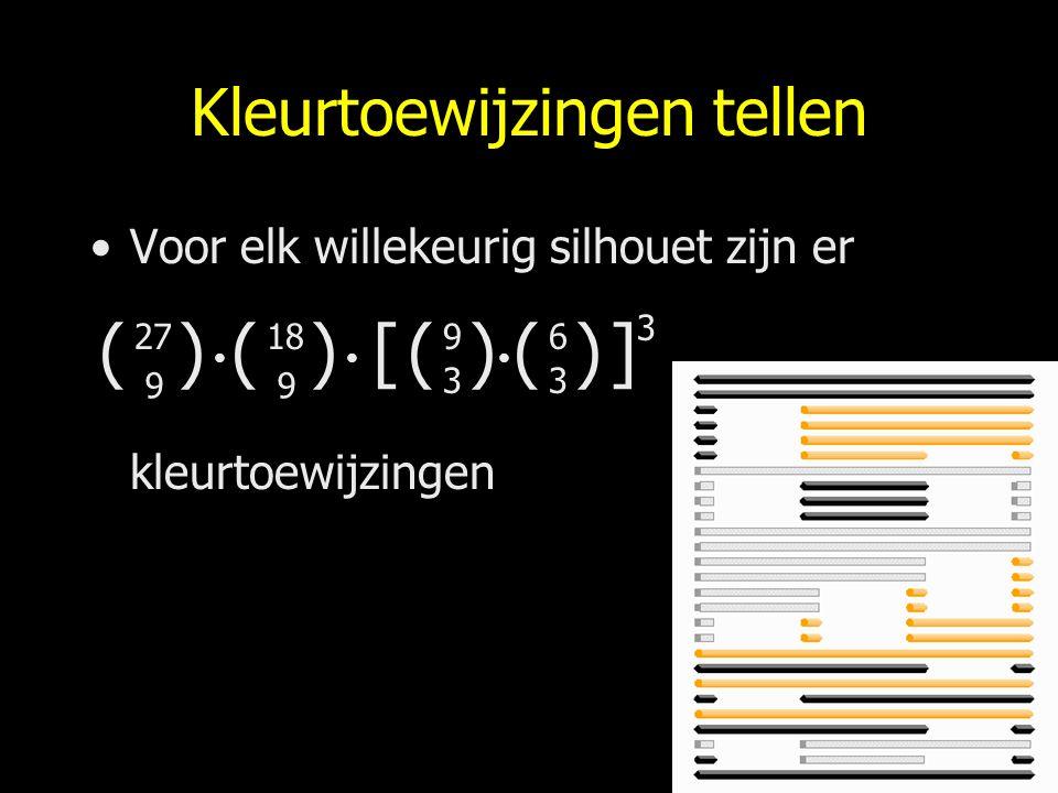 Kleurtoewijzingen tellen Voor elk willekeurig silhouet zijn er kleurtoewijzingen () 27 9 () 18 9 () 9 3 () 6 3 [] 3